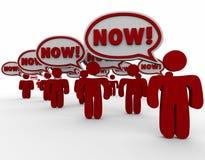 Jetzt sprudelt Kundennachfrage-Rede dringendes Bedürfnis-schnelle Antwort Stockbild