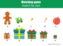 Jeu éducatif assorti d'enfants Badine l'activité Match par taille illustration de vecteur