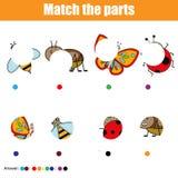 Jeu éducatif assorti d'enfants Badine l'activité Pièces d'insectes de match Trouvez le puzzle absent Photo libre de droits