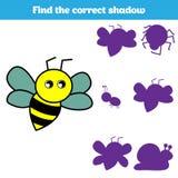 Jeu éducatif assorti d'enfants Pièces d'insectes de match Trouvez le puzzle absent Activité pour des enfants d'années pré scolair Images stock