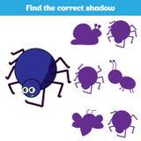 Jeu éducatif assorti d'enfants Pièces d'insectes de match Trouvez le puzzle absent Activité pour des enfants d'années pré scolair Photos libres de droits