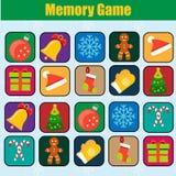 Jeu éducatif d'enfants, activité d'enfants Jeu de mémoire, Noël, thème de vacances d'hiver de nouvelle année Photos libres de droits