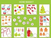 Jeu éducatif d'enfants de mathématiques, activité d'enfants Combien d'objets chargent Thème de nouvelle année et de Noël Compte d illustration de vecteur