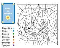 Jeu éducatif d'enfants E Couleur par des nombres, activité imprimable illustration libre de droits