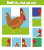 Jeu éducatif d'enfants Trouvez le morceau absent et complétez le tableau de la situation Le puzzle badine l'activité Thème d'anim Images stock