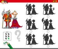 Jeu éducatif d'ombre avec le roi et le chevalier illustration libre de droits