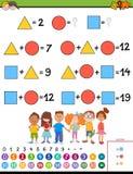 Jeu éducatif de calcul de maths pour des enfants illustration de vecteur