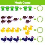 Jeu éducatif de mathématiques pour des enfants Apprenant la fiche de travail de soustraction pour des enfants, comptant l'activit Image libre de droits