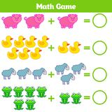 Jeu éducatif de mathématiques pour des enfants Apprenant la fiche de travail de soustraction pour des enfants, comptant l'activit Photos stock