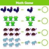 Jeu éducatif de mathématiques pour des enfants Apprenant la fiche de travail de soustraction pour des enfants, comptant l'activit Photo libre de droits