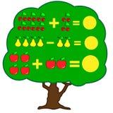Jeu éducatif de mathématiques pour des enfants Apprenant la fiche de travail de soustraction pour des enfants, comptant l'activit Image stock