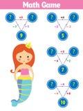 Jeu éducatif de mathématiques pour des enfants Mer de sirène de thème, océan, poisson illustration stock