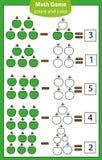 Jeu éducatif de maths pour des enfants Compte des équations Fiche de travail de soustraction Photos libres de droits