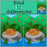 Jeu éducatif : Différences de découverte Peu vipère sur la pierre illustration de vecteur