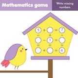 Jeu éducatif pour des enfants Compte des équations Soustraction et addition d'étude Fiche de travail de mathématiques illustration libre de droits