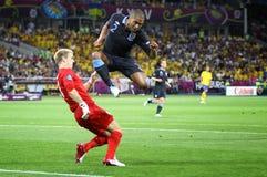 Jeu 2012 d'EURO de l'UEFA Suède contre l'Angleterre Image libre de droits