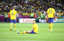 Jeu 2012 d'EURO de l'UEFA Suède contre l'Angleterre Photo stock