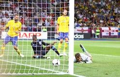 Jeu 2012 d'EURO de l'UEFA Suède contre l'Angleterre Images libres de droits