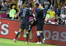Jeu 2012 d'EURO de l'UEFA Suède contre l'Angleterre Photos libres de droits