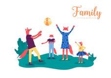 Jeu actif de famille de renard avec une boule dans le pré illustration stock