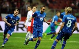 Jeu amical de la Pologne - de l'Islande Images stock