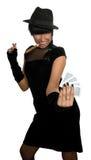 jeu attrayant de fille de cartes Image stock