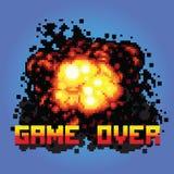 Jeu au-dessus d'illustration d'art de pixel de message de boom Photo libre de droits