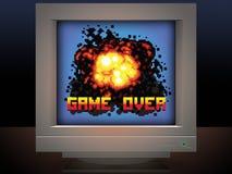 Jeu au-dessus de rétro illustration de jeu vidéo d'explosion Photos stock