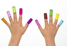 Jeu avec les couleurs et les mains Photographie stock libre de droits