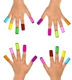 Jeu avec les couleurs et les mains Photo libre de droits