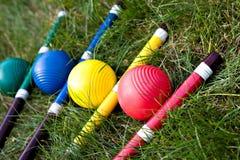 Jeu, bâton et boule de cricket image stock