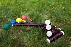 Jeu, bâton et boule de cricket Photo libre de droits