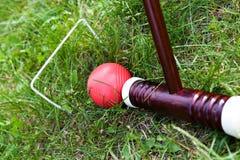 Jeu, bâton et boule de cricket Photographie stock libre de droits