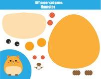 Jeu créatif éducatif d'enfants de DIY Faites un hamster avec des ciseaux et le collez Activité de Paprecut Cours imprimable créat illustration libre de droits