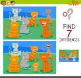 Jeu d'activité de différences de découverte avec des chats illustration de vecteur