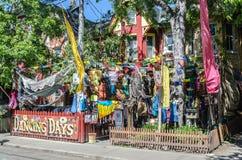 Jeu d'artistes de rue sur des instruments à Farmer&#x27 ; marché de s Images stock
