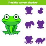 Jeu d'assortiment d'ombre pour des enfants Trouvez l'ombre droite Activité pour les enfants préscolaires Photos animales pour des Photo stock