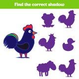 Jeu d'assortiment d'ombre pour des enfants Trouvez l'ombre droite Activité pour les enfants préscolaires Photos animales pour des Photographie stock libre de droits