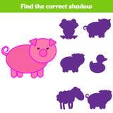 Jeu d'assortiment d'ombre pour des enfants Trouvez l'ombre droite Activité pour les enfants préscolaires Photos animales pour des Photos libres de droits