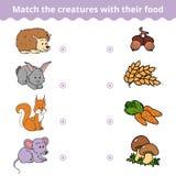 Jeu d'assortiment pour des enfants, des animaux et la nourriture préférée Photographie stock