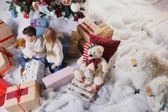 Jeu d'enfants avec des chiens à côté d'arbre de Noël Image libre de droits