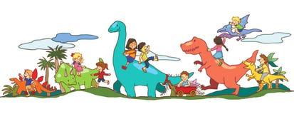 Jeu d'enfants avec des dinosaures dans Dinoworld