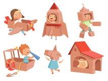 Jeu d'enfants de carton Les jeux des enfants avec les conteneurs de papier faisant des caractères de vecteur de voiture et de bat illustration stock