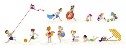 Jeu d'enfants sur la plage illustration libre de droits
