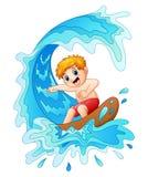Jeu d'enfants surfant avec la grande vague illustration de vecteur