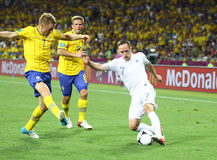 Jeu 2012 d'EURO de l'UEFA Suède contre des Frances Photos libres de droits