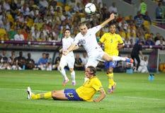 Jeu 2012 d'EURO de l'UEFA Suède contre des Frances Images stock