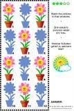 Jeu d'ombre avec les fleurs mises en pot Image stock