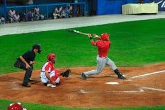 jeu de base-ball du Cuba-Canada images libres de droits