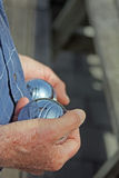 senior playing jeu de boules in France Royalty Free Stock Photography